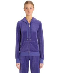 Juicy Couture | Purple Embellished Zip-up Velour Sweatshirt | Lyst