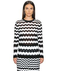 M Missoni | Black Cotton Viscose Zig Zag Knit Sweater | Lyst