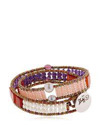Ziio | Pink Boa Wrap Around Bracelet | Lyst
