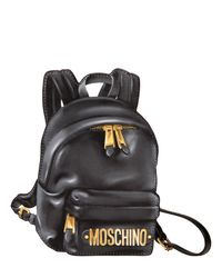 Moschino | Black Backpack Printed Leather Pouch | Lyst