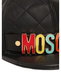 Moschino - Black Logo Lettering Quilted Leather Hat for Men - Lyst
