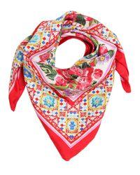 Dolce & Gabbana | Red Flower Printed Silk Twill Square Scarf | Lyst