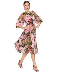 Dolce Amp Gabbana Embellished Roses Print Silk Voile Dress