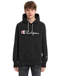 Champion | Black Reverse Weave Hooded Cotton Sweatshirt for Men | Lyst