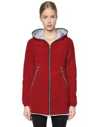 Duvetica | Red Aceso Nylon Long Down Jacket | Lyst