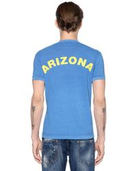 DSquared² - Blue Printed Cotton Jersey V-neck T-shirt for Men - Lyst