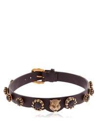 Gucci   Leather Choker W/ Black Crystals   Lyst
