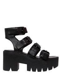 Windsor Smith | Black 80mm Presley Buckled Leather Sandals | Lyst