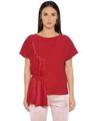 MM6 by Maison Martin Margiela | Red Fluid Viscose Top With Draped Panel | Lyst