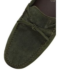 Tod's - Green City Gommino Tie Suede Driving Shoes for Men - Lyst
