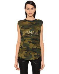 9d5bb2f964a6fc Lyst - Balmain Logo Camo Cotton Jersey Sleeveless Top in Green