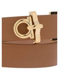 Ferragamo - Brown Gancio Leather Wrap Bracelet - Lyst