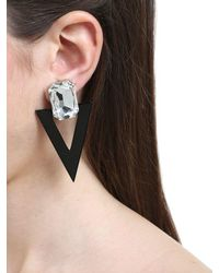Saint Laurent - Black Rectangle & Triangle Clip-on Earrings - Lyst