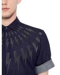 Neil Barrett - Blue Baumwollhemd Aus Doppeltem Gewebe Mit Blitzmotiv for Men - Lyst