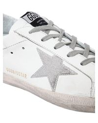 Golden Goose Deluxe Brand - White 20mm Super Star Leather Glitter Sneakers - Lyst