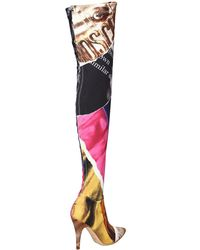 Moschino - Red 100mm Editorial Printed Neoprene Boots - Lyst