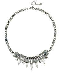 Halo - Metallic Chain Necklace W/ Swarovski Crystals - Lyst