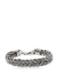 Emanuele Bicocchi - Metallic Fishtail Braid Silver Chain Bracelet for Men - Lyst
