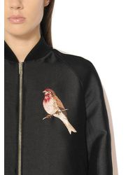 Stella McCartney - Black Embroidered Cotton Silk Duchesse Bomber - Lyst