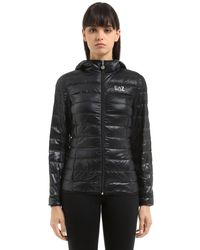 EA7 | Black Train Core Hooded Light Down Jacket | Lyst