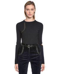 Nina Ricci - Black Wool Knit Sweater W/ Elbow Cutouts - Lyst