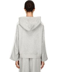 SJYP - Gray Boxy Fit Cropped Stripe Tape Hoodie - Lyst