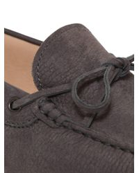 Tod's - Gray Gommino 122 Tie Nubuck Driving Shoes for Men - Lyst