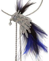 Lanvin - Blue Phoenix Bird Necklace W/ Feathers - Lyst