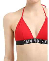 d247b268dccec Calvin Klein Logo Band Triangle Bikini Top in Red - Lyst