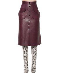 Rochas - Purple Leather Midi Skirt - Lyst