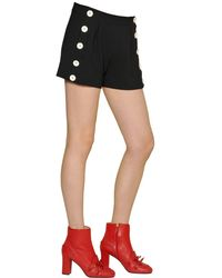 Boutique Moschino - Black Techno Crepe Shorts With Buttons - Lyst
