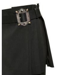 Alexander McQueen - Black Wool Crepe Kilt With Leather Belt - Lyst