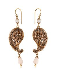 Etro - Metallic Paisley Drop Earrings W/ Crystals - Lyst