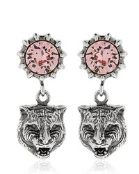 Gucci - Metallic Angry Cat Head & Crystal Earrings - Lyst