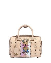 MCM - Natural Small Boston Faux Leather Top Handle Bag - Lyst