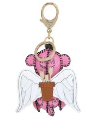 MCM - Pink Bear & Wings Faux Leather Bag Charm - Lyst