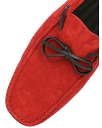 Tod's - Red New Gommini Suede Leather Driving Shoes for Men - Lyst