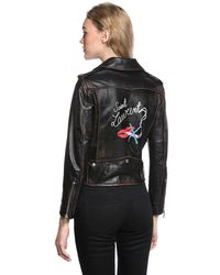 Saint Laurent - Black Printed Distressed Nappa Leather Jacket - Lyst