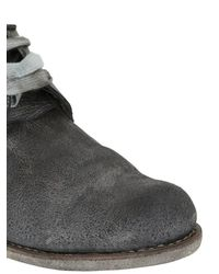 A Diciannoveventitre - Gray Washed Crust Leather Derby Lace-up Shoes for Men - Lyst
