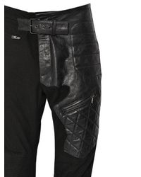 Haider Ackermann - Black Slim Cotton & Leather Biker Pants for Men - Lyst