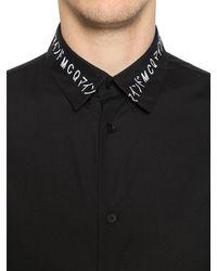 McQ Alexander McQueen - Black Embroidered Collar Cotton Poplin Shirt for Men - Lyst