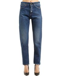 Saint Laurent - Blue Skinny Boyfriend Ripped Denim Jeans - Lyst