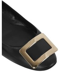 Roger Vivier | Black 10mm Belle Vivier Leather Flats | Lyst