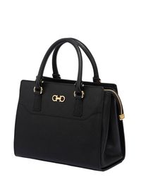 Ferragamo | Black Beky Saffiano Leather Top Handle Bag | Lyst