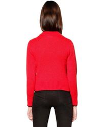 Ainea - Red Carp Wool Blend Knit Sweater W/ Feathers - Lyst