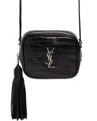 Saint Laurent | Black Monogram Blogger Croc Embossed Bag | Lyst