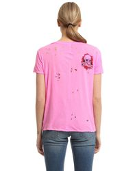 Unravel - Pink Skull Print Destroyed Jersey T-shirt - Lyst