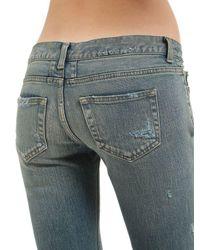 Saint Laurent - Blue 15cm Super Destroyed Stretch Denim Jeans - Lyst