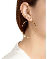 Eshvi - Metallic Lava Pearl Circle Earrings - Lyst