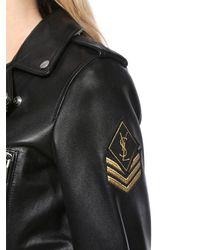 Saint Laurent - Black Nappa Leather Biker Jacket W/ Logo Patch - Lyst